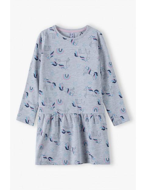 Szara sukienka w jednorożce - długi rękaw