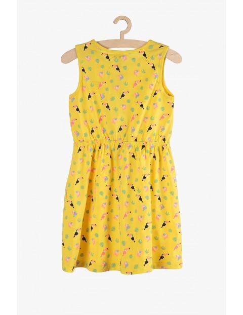 Bawełniana sukienka na lato- żółta w tukany