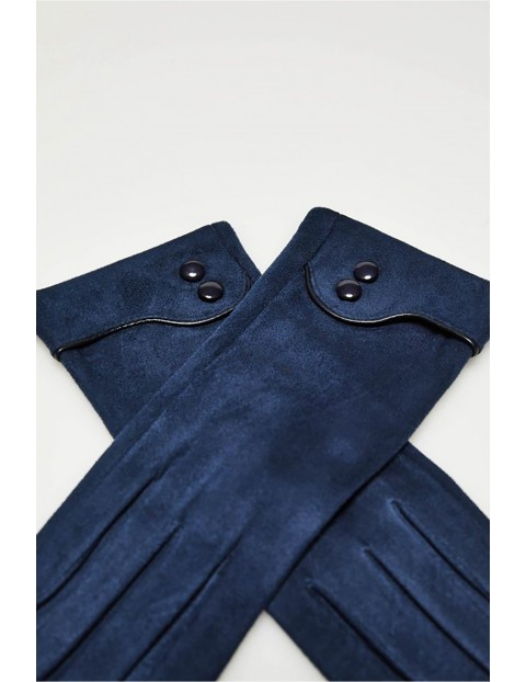 Długie  stylowe rękawiczki damskie wykonane z zamszowego materiału - granatowe