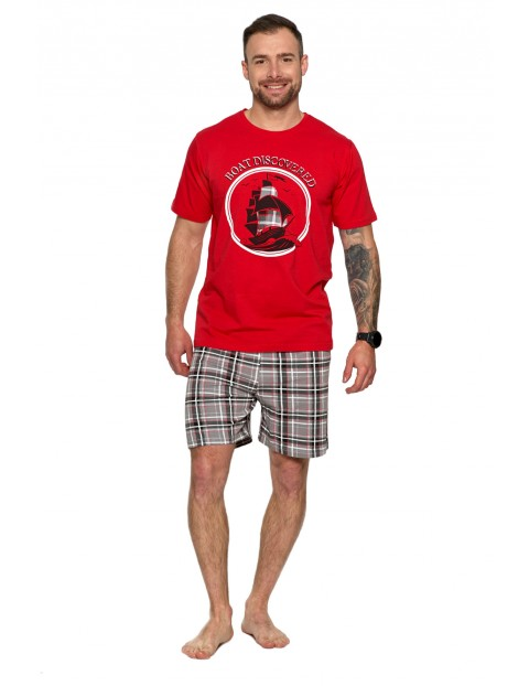 Piżama męska z krótkim rękawem i spodniami w kratę