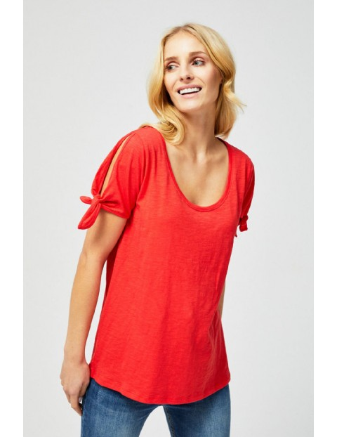 T-shirt damski z wiązaniem przy rękawach- czerwony