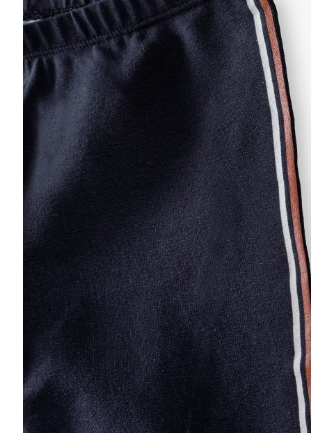 Czarne legginsy dziewczęce  z lampasem - Limited Edition