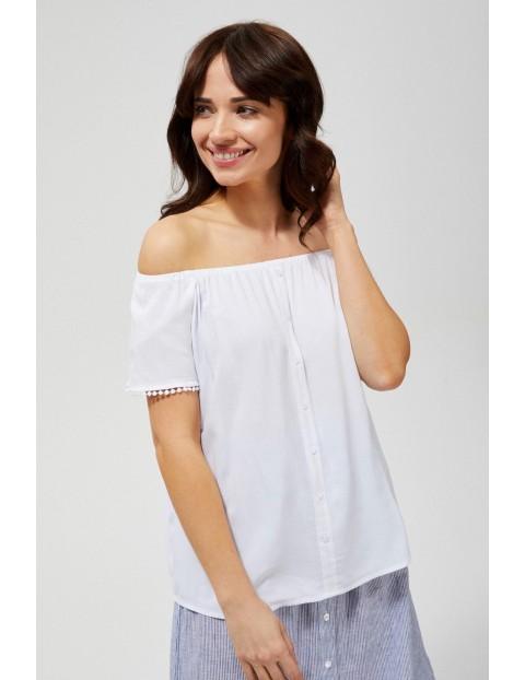 Bluzka damska koszulowa z ozdobnymi rękawami biała