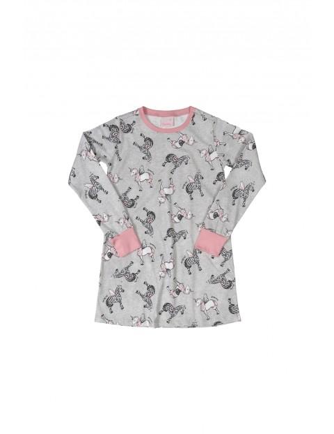 Bawełniana pidżama dziewczęca w jednorożce i w zebry - szara