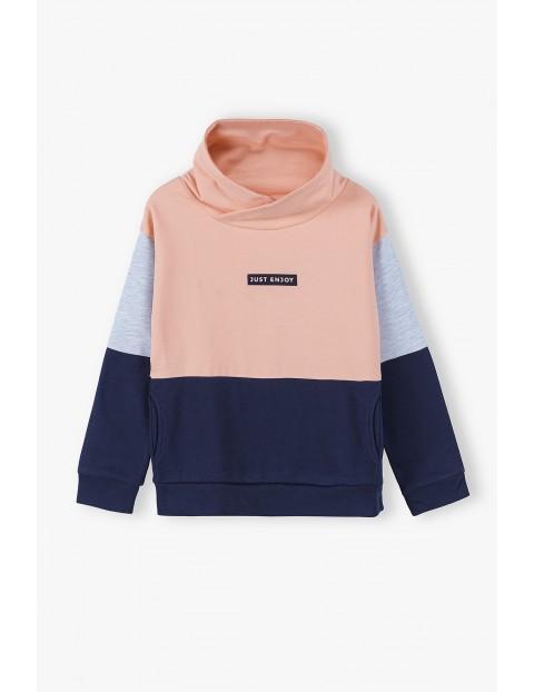 Bluza dresowa dziewczęca różowo - granatowa Just Enjoy