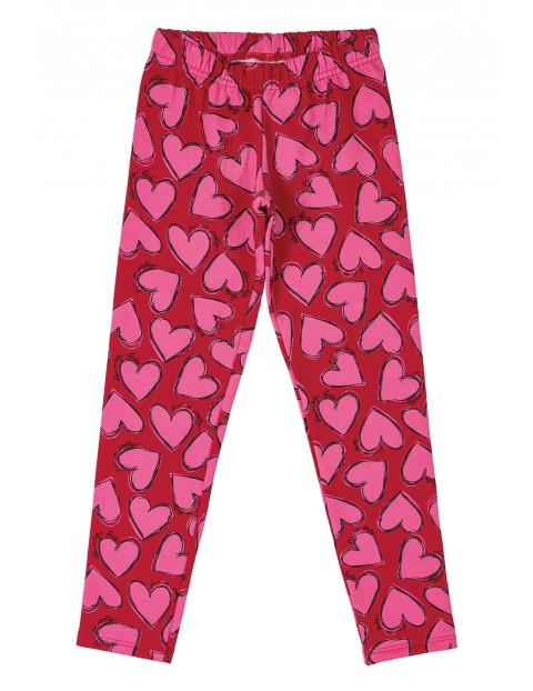 Spodnie dziewczęce w różowe serca