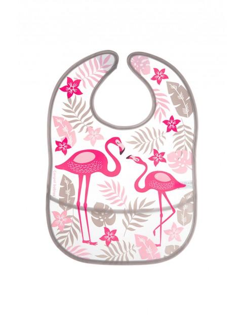 Śliniak zmywalny z kieszenią JUNGLE flamingi