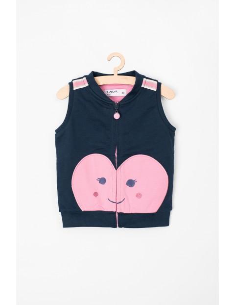 Bezrękawnik niemowlęcy granaowy z różowym serca
