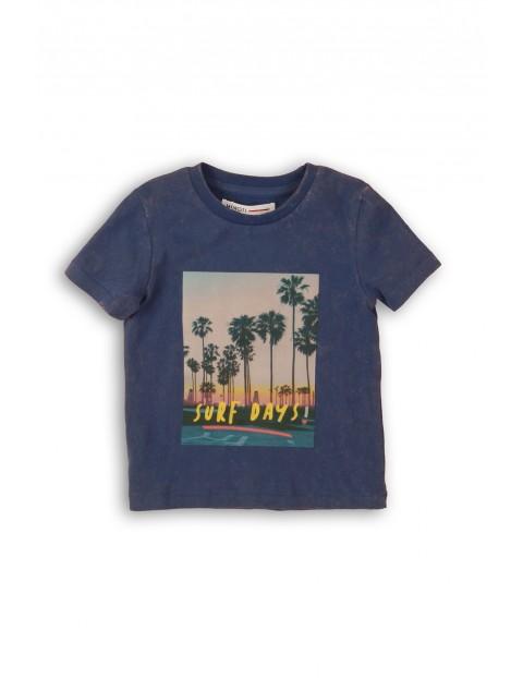 Bawełniany t-shirt chłopięcy z palmami - granatowy