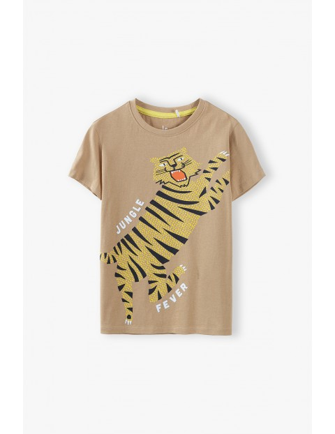 T-shirt chłopięcy w kolorze brązowym  z tygryskiem