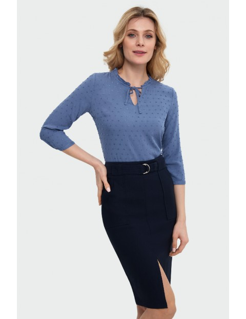 Bluzka damska z riuszką przy dekolcie- niebieska