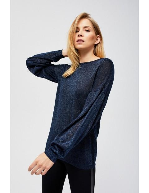 Cienki granatowy sweter z bufiastymi rękawami