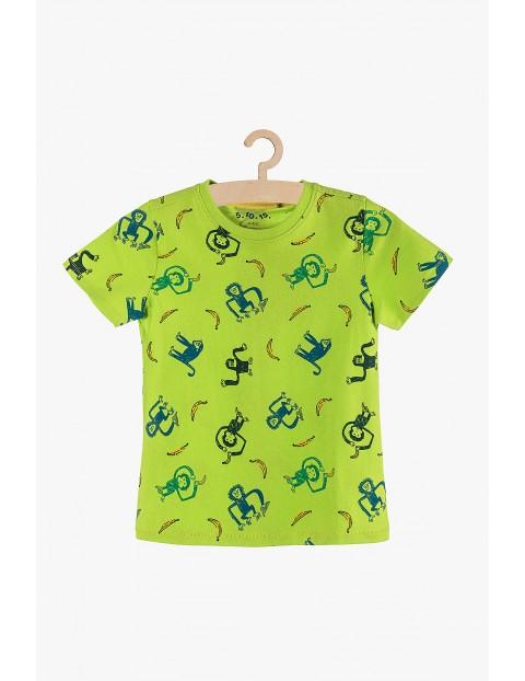 T-shirt chłopięcy zielony w małpki