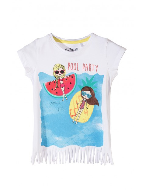 T-shirt bawełniany dla dziewczynki-wakacyjne nadruki