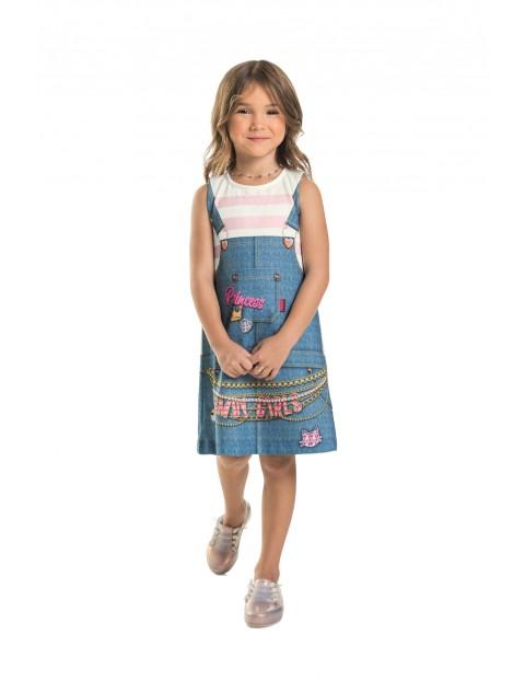 Sukienka dziewczęca dzianinowa- imitacja ogrodniczki