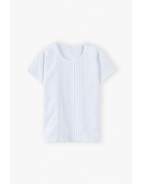 Bawełniany biały t-shirt dziewczęcy