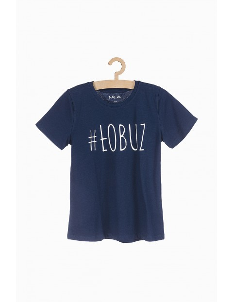 T-shirt chłopięcy z napisem - #Łobuz