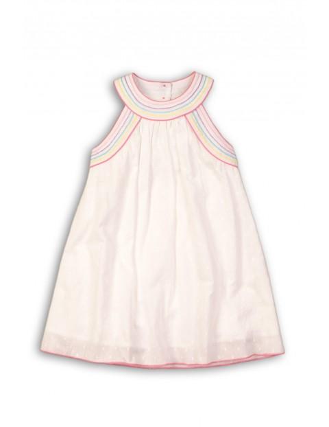Sukienka dziewczęca biała z kolorowymi obszyciami
