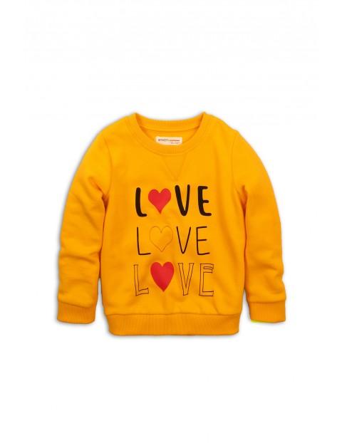 Bluza dziewczęca nierozpinana żółta z nadrukiem Love