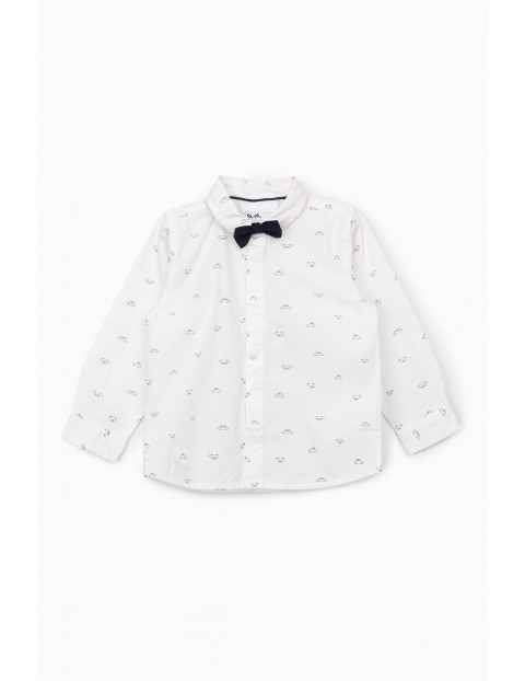 Elegancka biała koszula niemowlęca z muszką