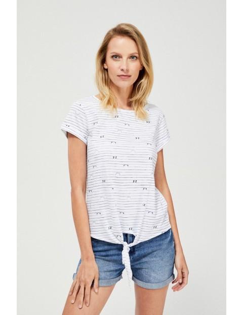 Bawełniany biały t-shirt damski na krótki rękaw z ozdobnym wiązaniem
