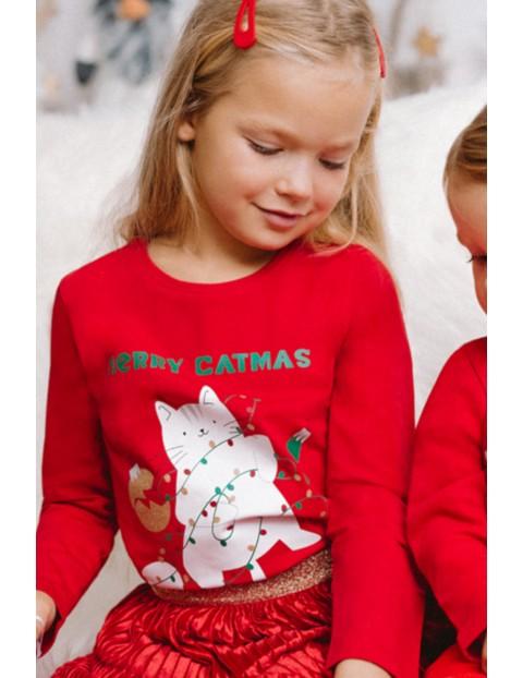 Bluzka świąteczna dla dziewczynki - czerwona z kotem