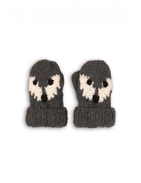 Rękawiczki chłopięce szare ze zwierzakiem