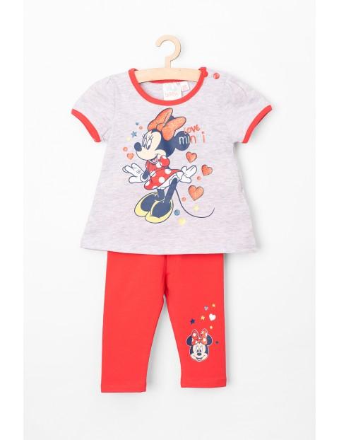 Komplet niemowlęcy t-shirt i legginsy Myszka Minnie, szaro-czerwony