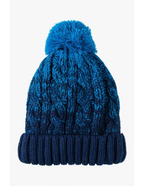 Czapka zimowa chłopięca- granatowo- niebieska