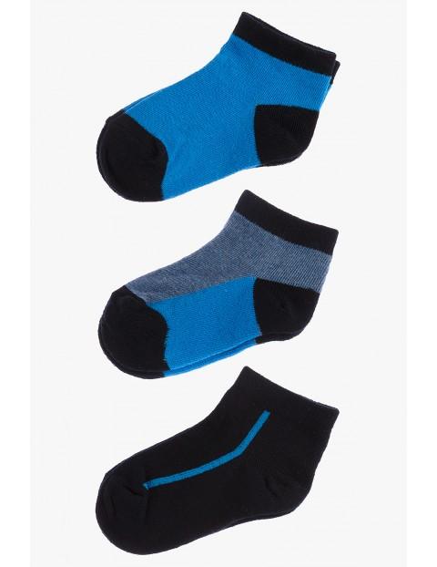 Skarpetki chłopięce niebieskie stopki 3pak