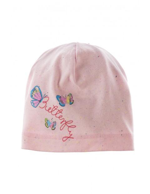 Dzianinowa czapka dla dziewczynki z kolorowym nadrukiem