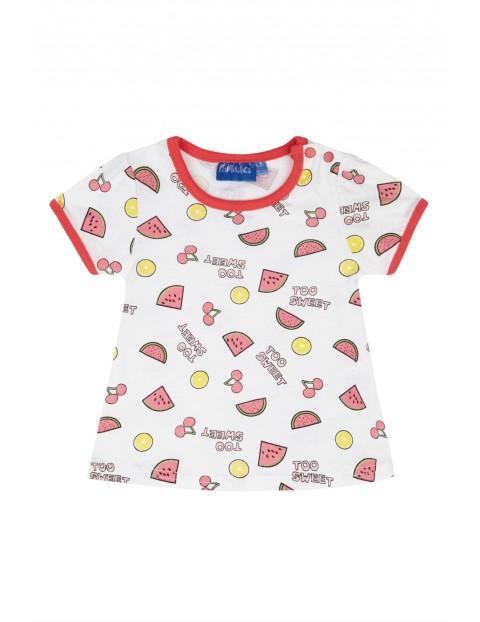 Bawełniany t-shirt dla dziewczynki z kolorowymi nadrukami z przodu