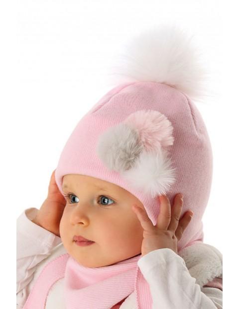 Czapka różowa niemowlęca wiązana 5X35A7