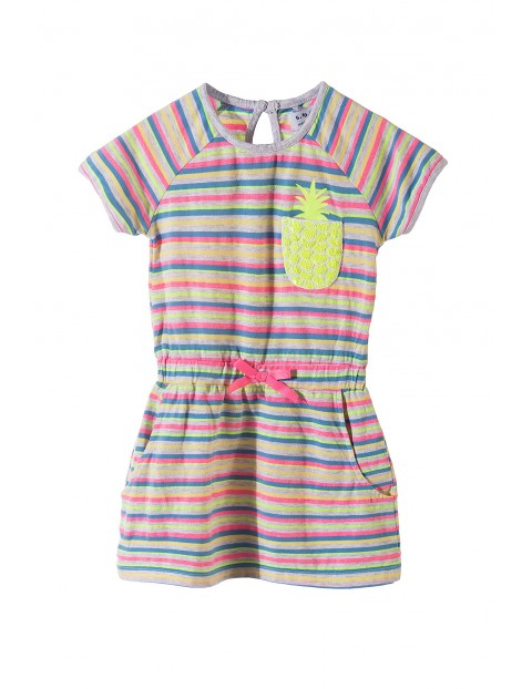 Sukienka dziewczęca w paski na lato z cekinowym ananasem