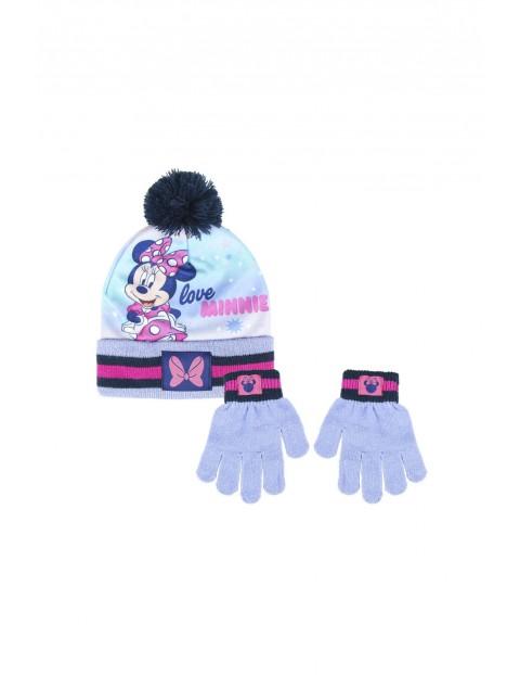 Komplet dziewczęcy czapka i rękawiczki Minnie - rozm 52/54