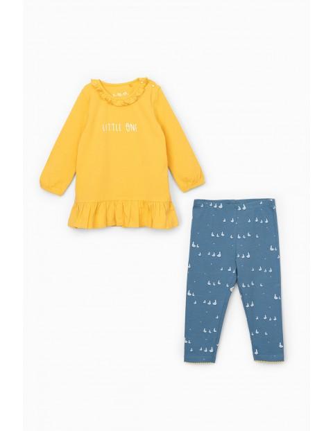 Komplet dziewczęcy - żółta tunika z napisem Little One + legginsy niebieskie z kaczuszkami