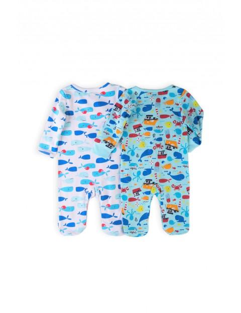 Bawełniane pajace niemowlęce- 2-pak