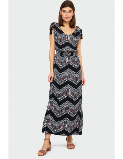 Długa wiskozowa sukienka z nadrukiem