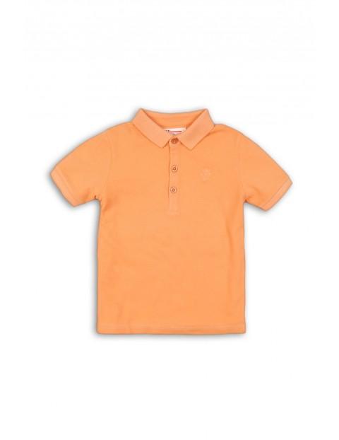 T-shirt niemowlęcy z kołnierzykiem - pomarańczowy