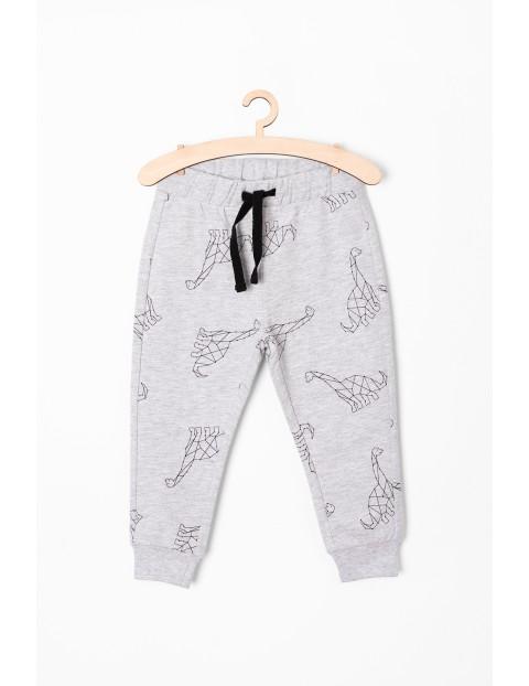 Spodnie dresowe z dinozaurami - szare