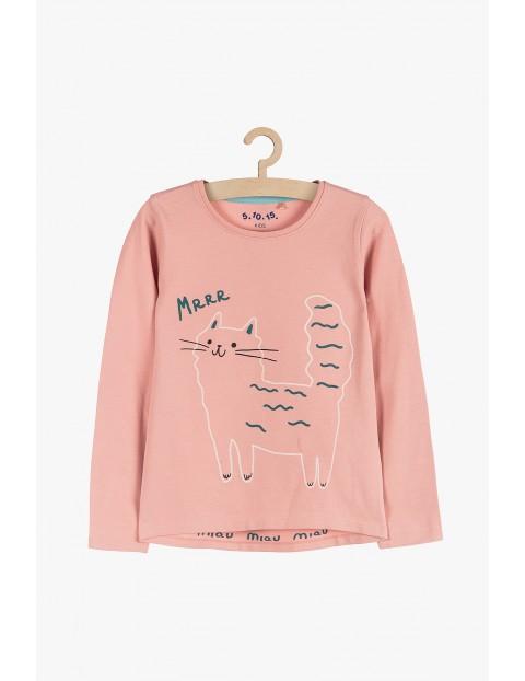 Dzianinowa bluzka z długim rękawem- różowa z kotem