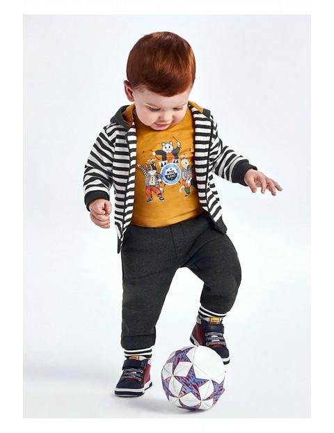 Komplet chłopięcy - rozpinana bluza z kapturem bluzka i długie spodnie dresowe