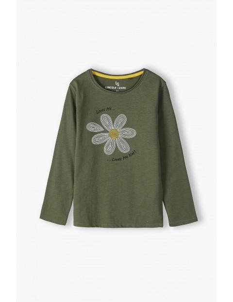 Bawełniana bluzka dziewczęca z długim rękawem z kwiatkiem - khaki