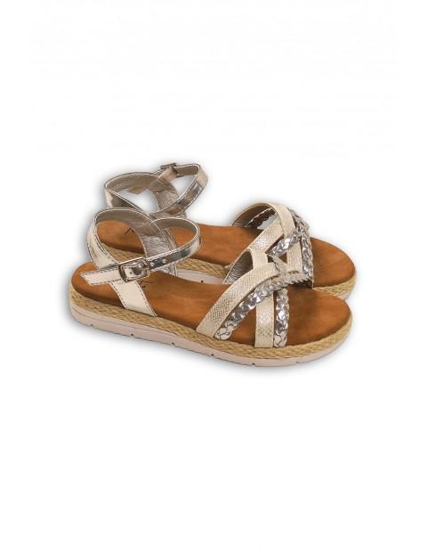 Złoto-srebrne sandały dziewczęce