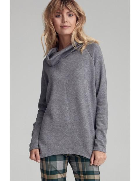 Sweter z szerokim golfem - szary