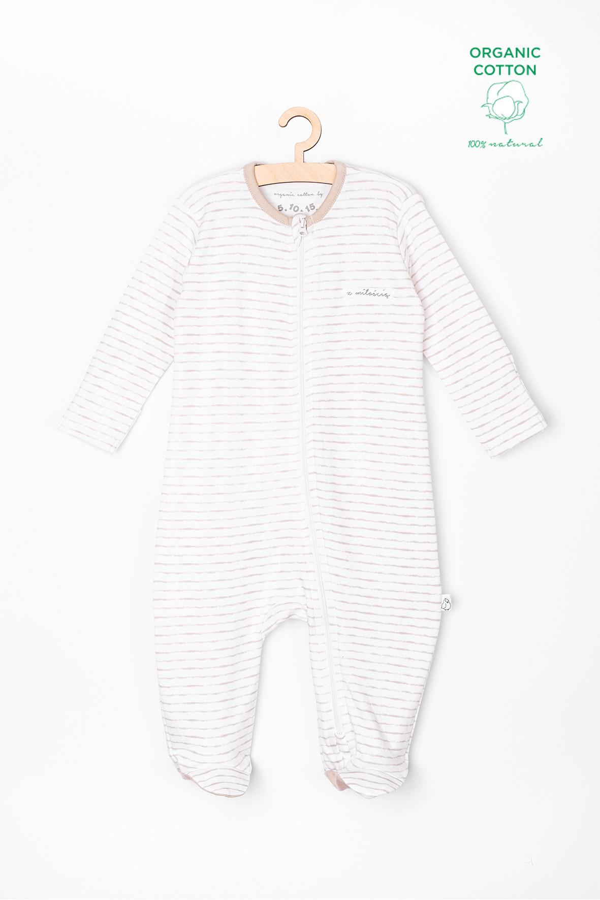 Pajac niemowlęcy biały w paski 6W3729