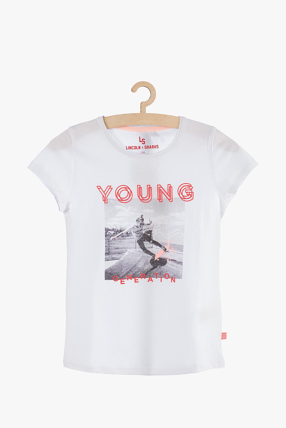 T-Shirt dziewczęcy biały 4I3812