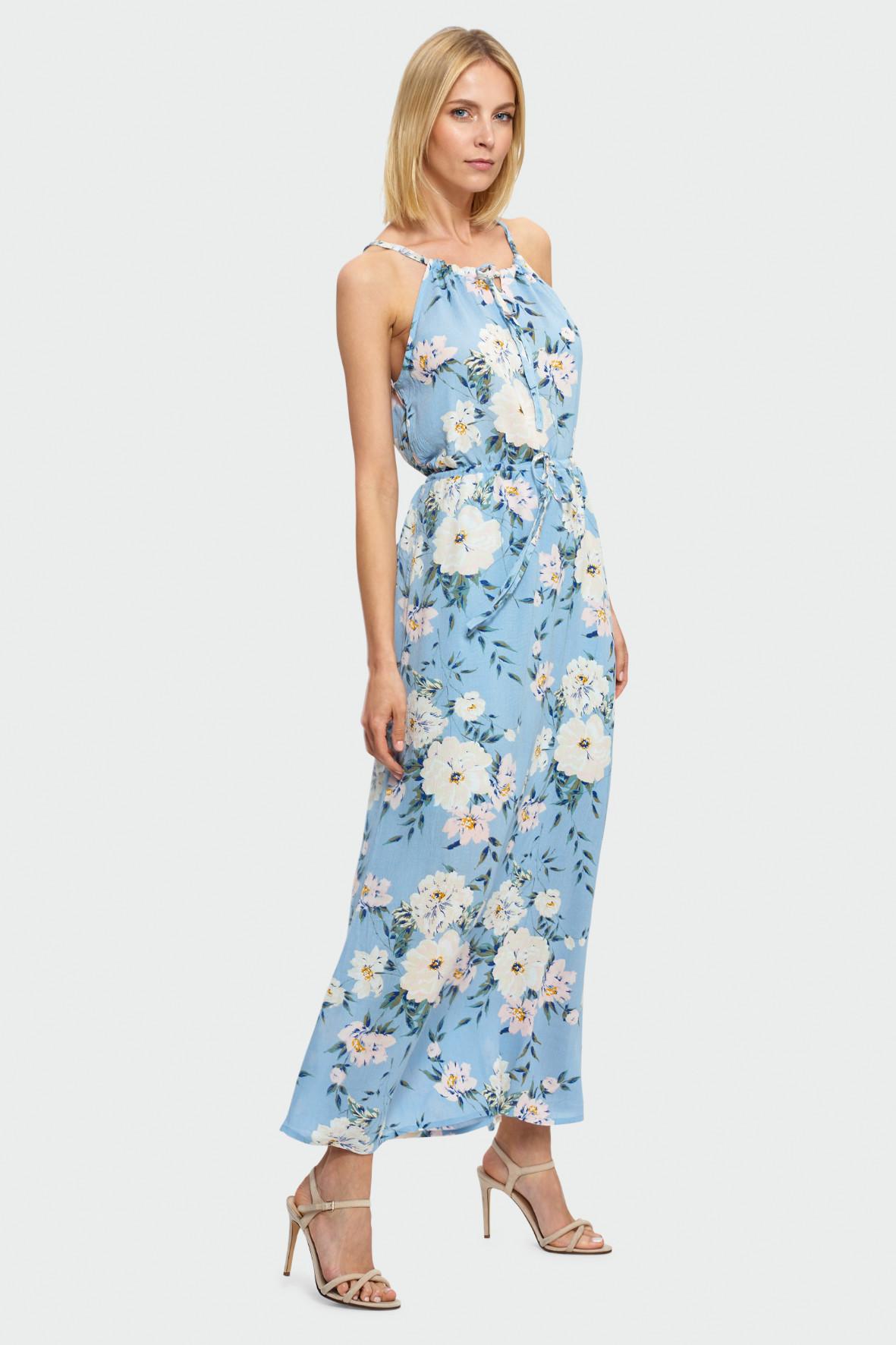 Długa sukienka wiązana na szyi 8K38BA