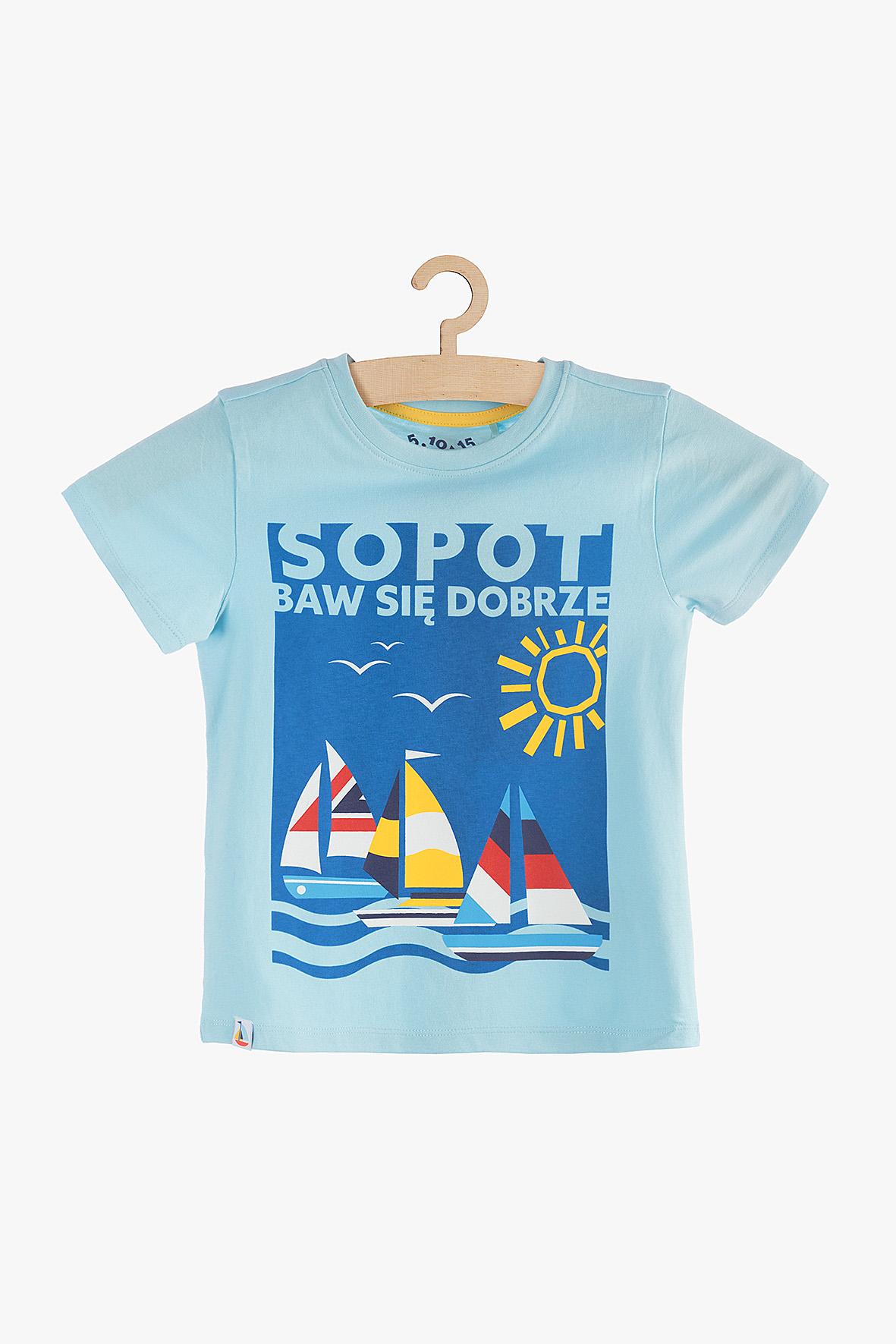 T-shirt chłopięcy niebieski 1I3852