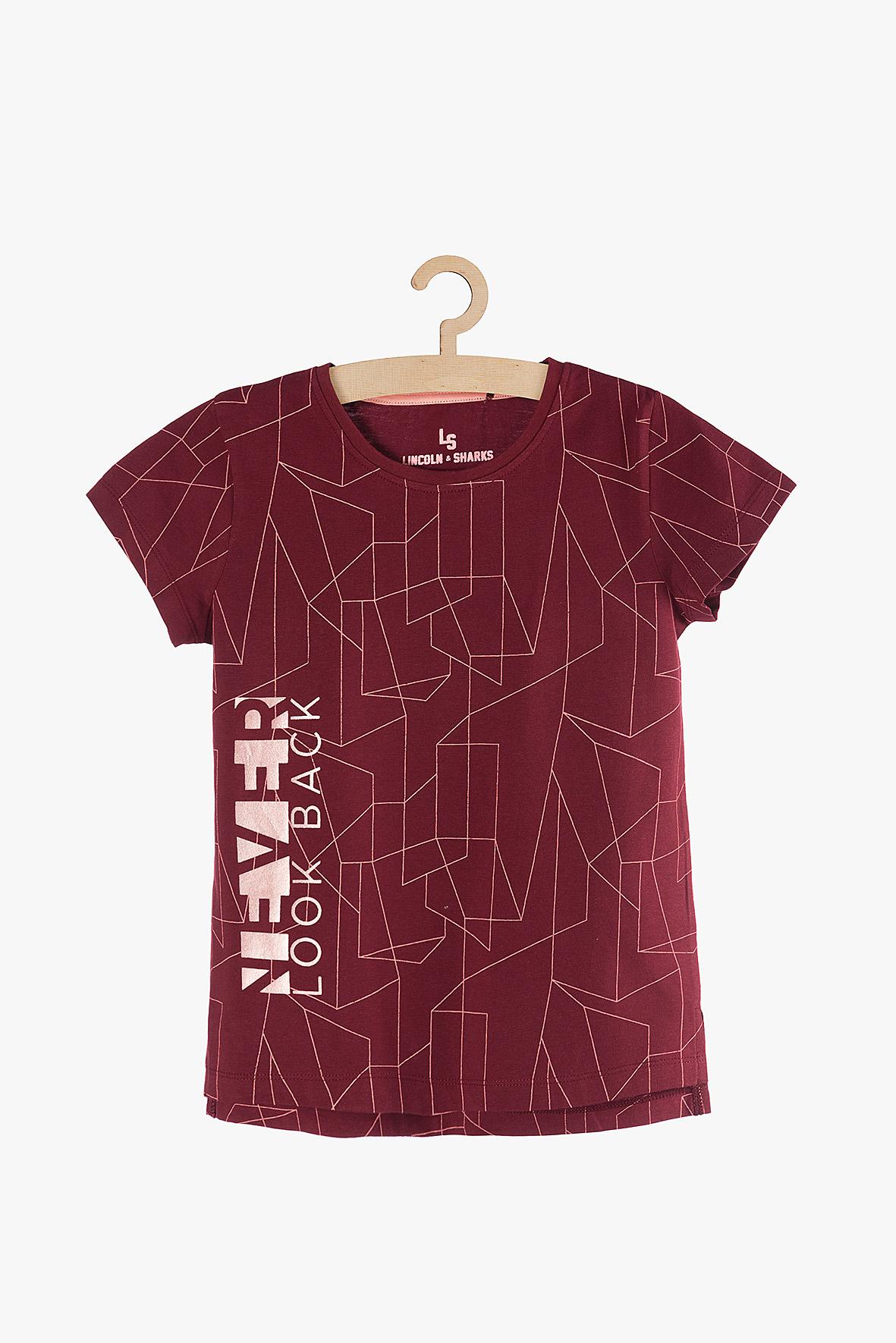 T-shirt dziewczęcy czerwony 4I3814